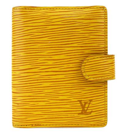 送料無料 【中古】 ルイヴィトン LOUIS VUITTON アジェンダ ミニ 手帳カバー エピ タッシリイエロー レザー R20079 07BK022