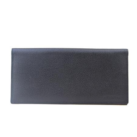 送料無料 【中古】 超美品 バーバリー BURBERRY 二つ折り 札入れ 長財布 ノバチェック ブラック レザー 02BK069