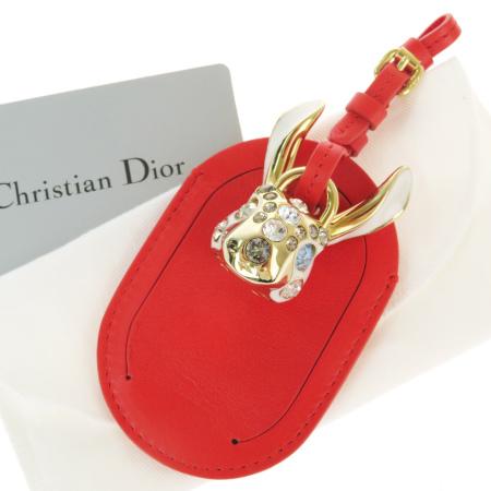 送料無料 【中古】 超美品 クリスチャンディオール Christian Dior バッグチャーム キーホルダー ネームタグ ラインストーン レッド レザー 09BK049