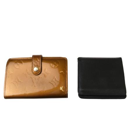 送料無料 【中古】 2点セット ルイヴィトン LOUIS VUITTON 二つ折り 財布 モノグラム ヴェルニ ブロンズ タイガ ブラック エナメル レザー 03BK493