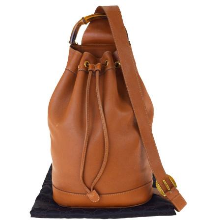 送料無料 【中古】 グッチ GUCCI バンブー ショルダーバッグ ブラウン フルレザー 保存袋付き 62BK418