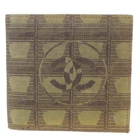 送料無料 【中古】 中美品 シャネル CHANEL ニュートラベルライン 二つ折り 財布 ココマーク カーキ ジャカード レザー 02BK415
