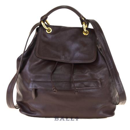 【中古】 バリー BALLY リュックサック バックパック バッグ ブラウン レザー 保存袋付き 60BK502