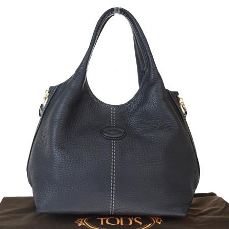 送料無料 【中古】 外美品 トッズ TOD'S ハンドバッグ ブラック レザー 保存袋付き 05EY201