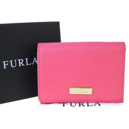 送料無料 【中古】 未使用 フルラ FURLA 三つ折り 財布 ピンク レザー 保存箱付き 08BK706