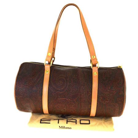 送料無料 【中古】 中美品 エトロ ETRO ペイズリー ハンドバッグ 筒型 ボルドーレッド PVC レザー 保存袋付き 07BK915