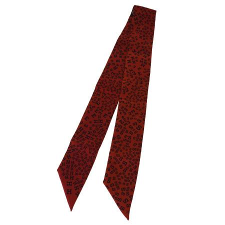 送料無料 【中古】 超美品 エルメス HERMES ツイリー スカーフ ロゴ オレンジ シルク 100% 05BK839