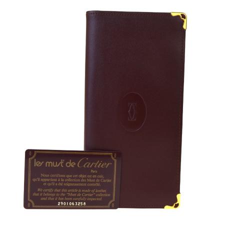送料無料 【中古】 美品 カルティエ Cartier マスト 二つ折り 札入れ 長財布 ボルドーレッド レザー 08BK818