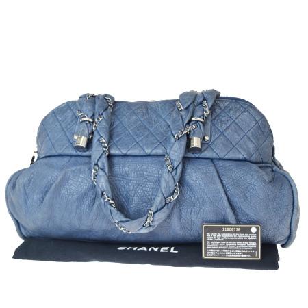 送料無料 【中古】 シャネル CHANEL チェーン ショルダーバッグ ココマーク ブルー レザー 保存袋付き 96EY237