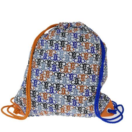 【中古】 超美品 エミリオプッチ EMILIO PUCCI リュックサック バックパック バッグ 巾着 ブルー オレンジ ナイロン レザー 09EY675