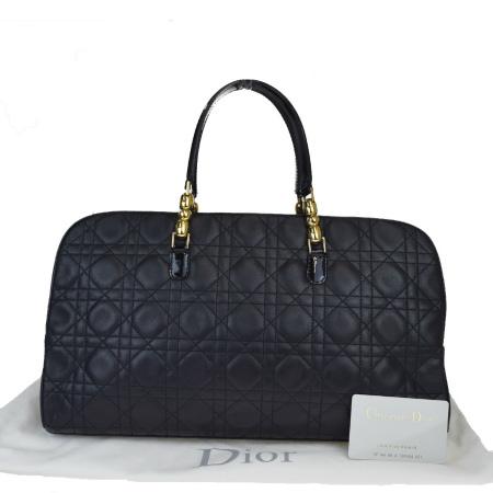 【中古】 中美品 クリスチャンディオール Christian Dior ハンドバッグ カナージュ ブラック レザー エナメル 保存袋付き 31EZ342