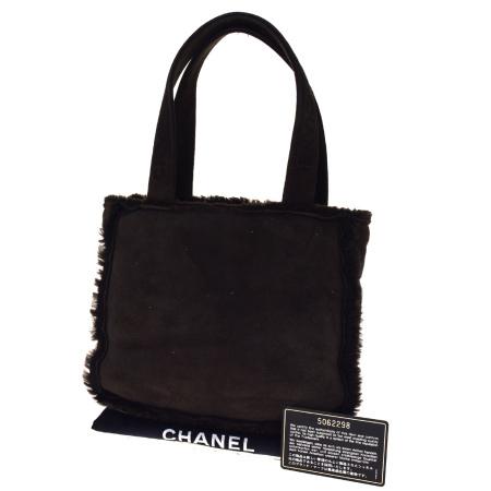 【中古】 中美品 シャネル CHANEL ハンドバッグ ミニトート ブラウン ムートン 保存袋付き 30BM248