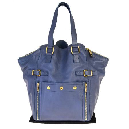 【中古】 中美品 イヴサンローラン Yves Saint Laurent ダウンタウン ショルダーバッグ ハンド ブルー グレー レザー 保 存袋付き 66BM429