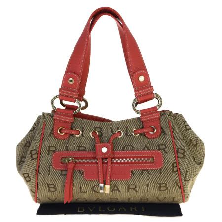 【中古】 超美品 ブルガリ BVLGARI ロゴマニア ハンドバッグ ピンク ブラウン レザー キャンバス 保存袋付き 69BM625