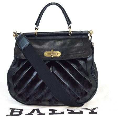 【中古】 中美品 バリー BALLY ハンドバッグ ショルダー 2WAY ブラック ファー レザー 保存袋付き 68MA305