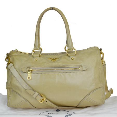 【中古】 プラダ PRADA ハンドバッグ ショルダー 2WAY ベージュ レザー 保存袋付き 05MA506
