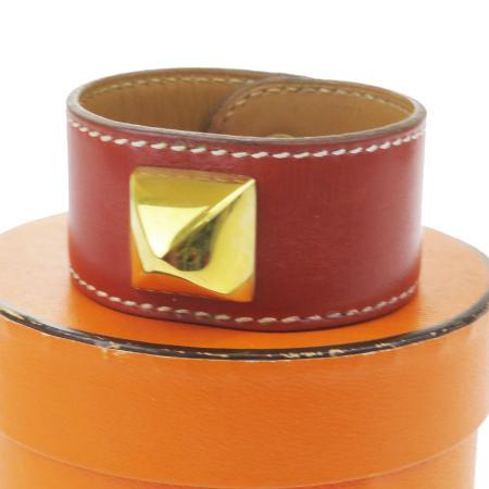 好評 毎日 新商品を続々入荷しています 中古 美品 エルメス HERMES メドール ブレスレット ゴールド 春の新作 ブラウン メタル レザー 保存箱付き バングル 60MF754