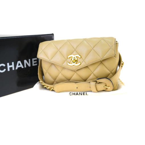 【中古】 シャネル(Chanel) CC バムバッグ 75/30 レザー ウエストバッグ ベージュ 23GA678