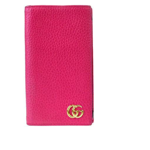 【中古】 グッチ(Gucci) GGマーモント レザー 手帳型/カード入れ付きケース iPhone 7 対応 ピンク 08GB233