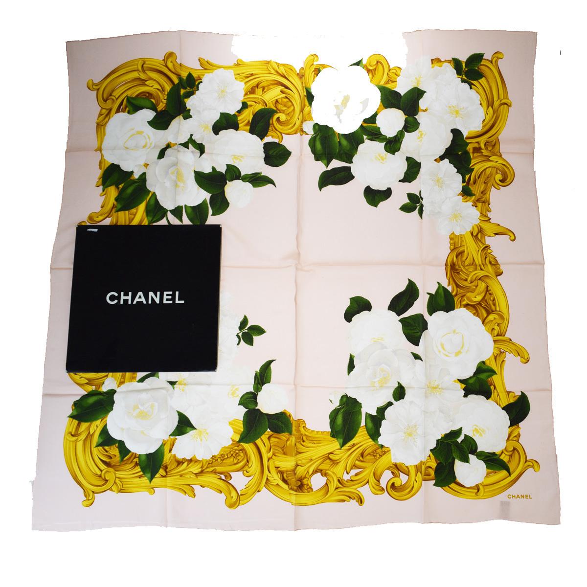 【中古】 シャネル(Chanel) シルク スカーフ ピンク 02FA396