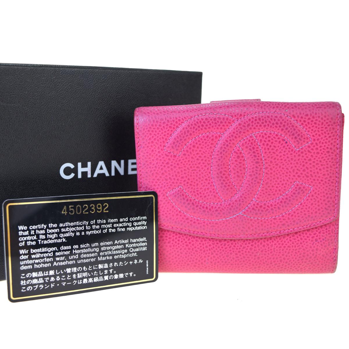 【中古】 シャネル(Chanel) レザー 札入れ(二つ折り) ピンク 02PA165