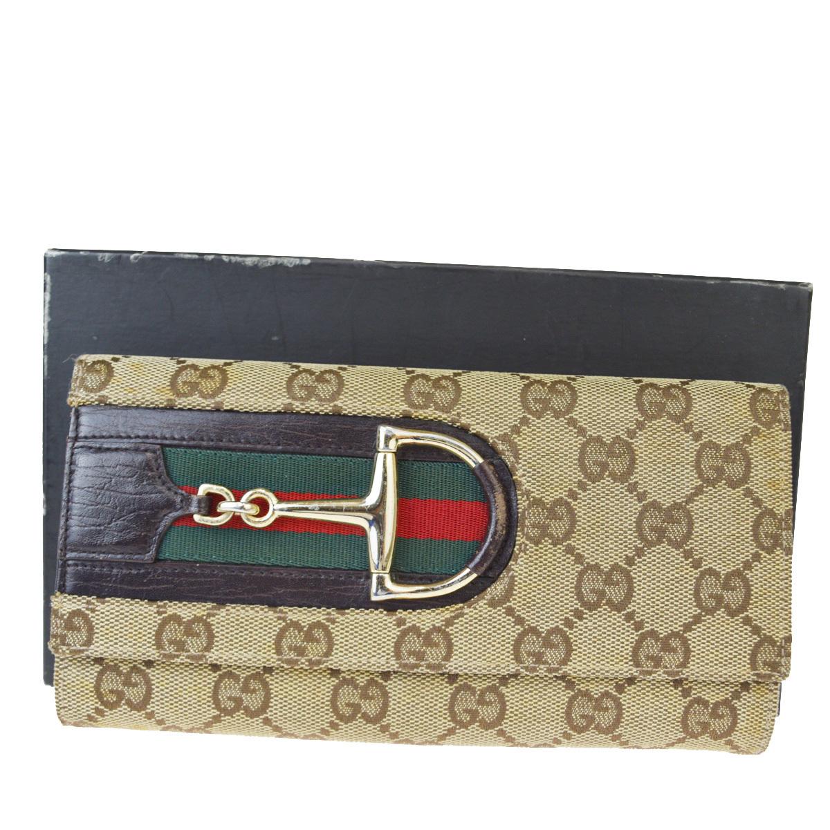 【中古】 グッチ(Gucci) シェリー GG柄 キャンバス,レザー 財布(三つ折り) ブラウン 02FA499