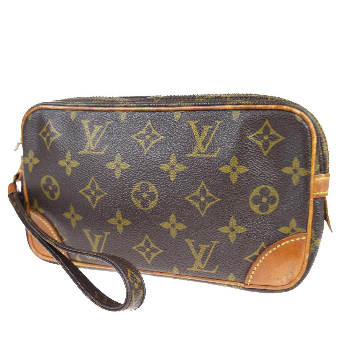 【中古】 ルイ・ヴィトン(Louis Vuitton) モノグラム マルリードラゴンヌ PM M51827 クラッチバッグ ブラウン 01FA515
