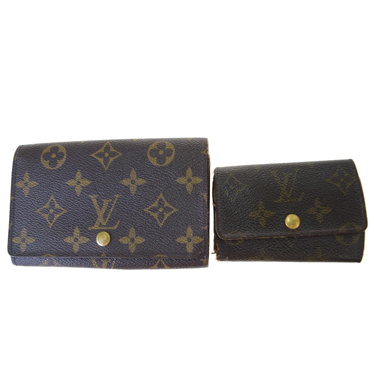 【中古】 ルイ・ヴィトン(Louis Vuitton) 2点セット キーケース M62630 M61730 モノグラム 中財布(二つ折り) ブラウン 03PA209