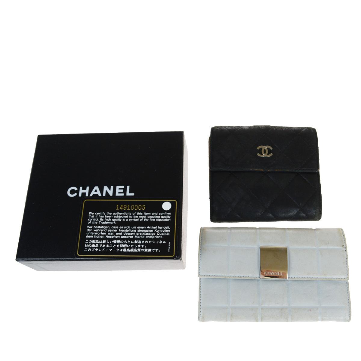 【中古】 シャネル(Chanel) 2セット レザー 財布(二つ折り) ブラック,ブルー 03FA535