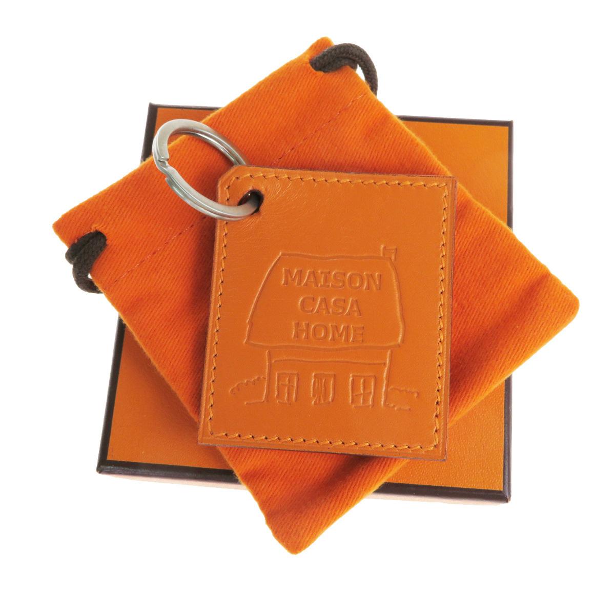 【中古】 エルメス(Hermes) MAISON CASA HOME キーホルダー (オレンジ) 07FA556