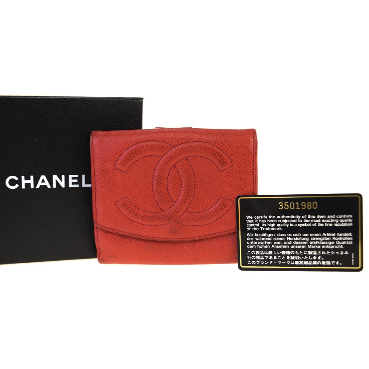 【中古】 シャネル(Chanel) キャビアスキン 中財布(二つ折り) レッド 07PA239