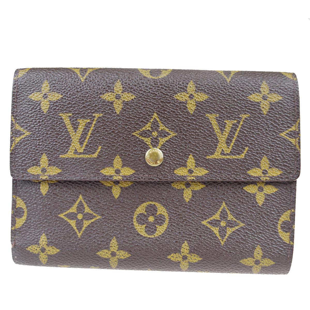 【中古】 ルイ・ヴィトン(Louis Vuitton) ポルトトレゾールエテュイパピエ M61202 モノグラム 中財布(三つ折り) ブラウン 08FA579