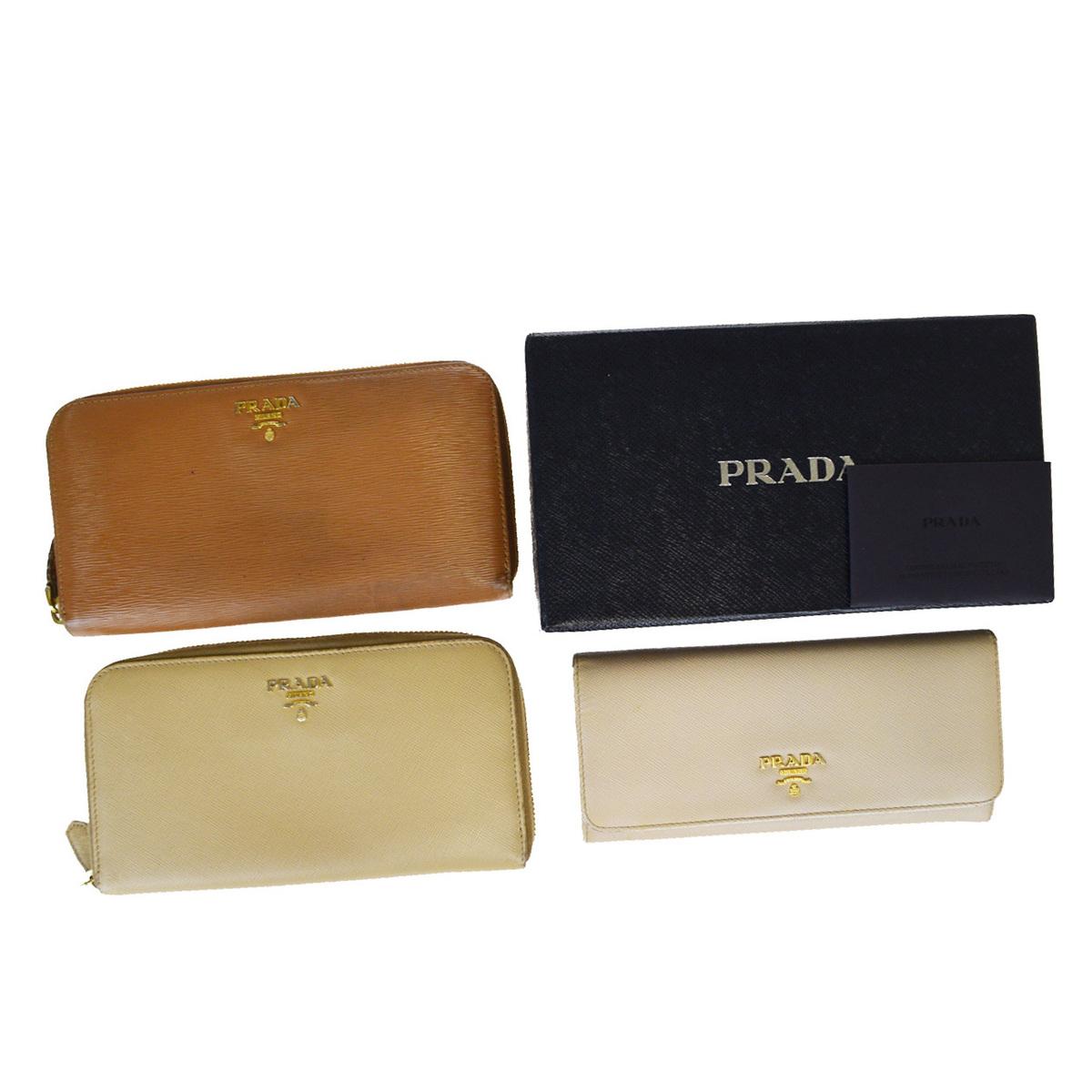 【中古】 プラダ(Prada) 3セット レザー 長財布(二つ折り) ベージュ,ブラウン 09FA742