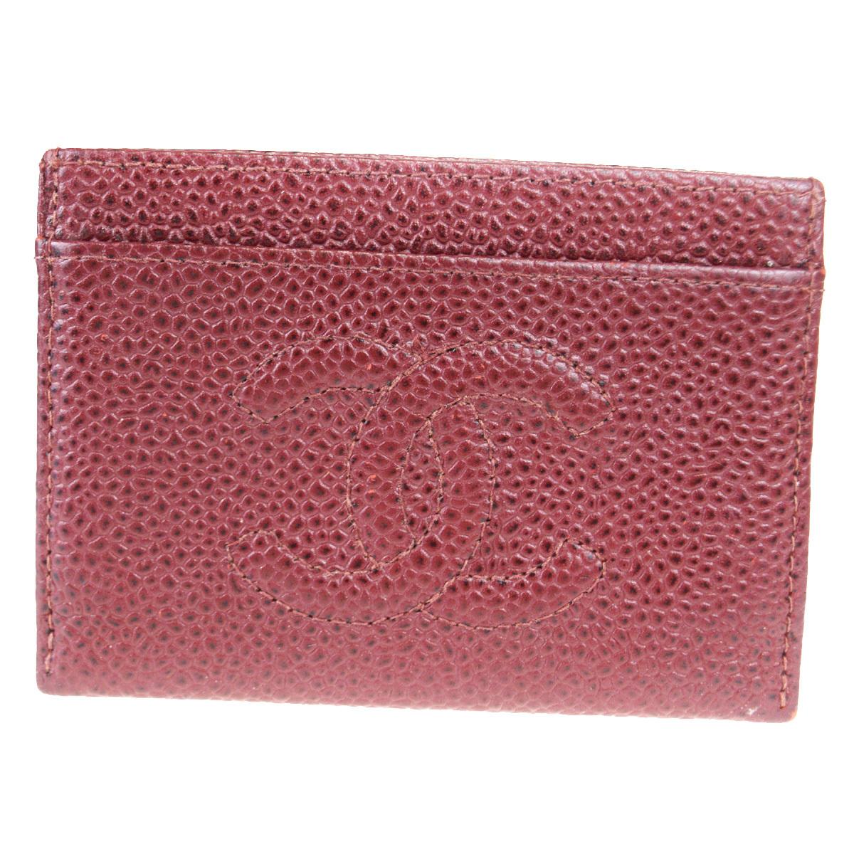 【中古】 シャネル(Chanel) キャビアスキン カードケース ボルドー 09FA749