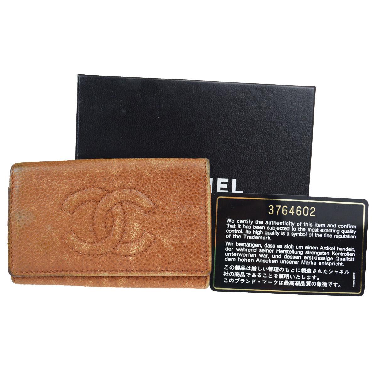 【中古】 シャネル(Chanel) ココ キャビアスキン キーケース ブラウン 02FA760