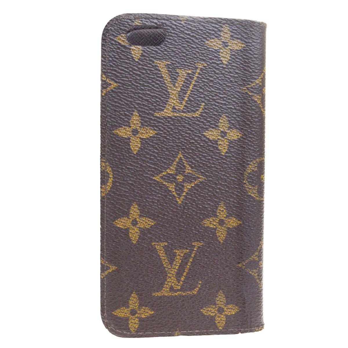 【中古】 ルイ・ヴィトン(Louis Vuitton) モノグラム レザー 手帳型/カード入れ付きケース iPhone 6 対応 ブラウン 01FA863