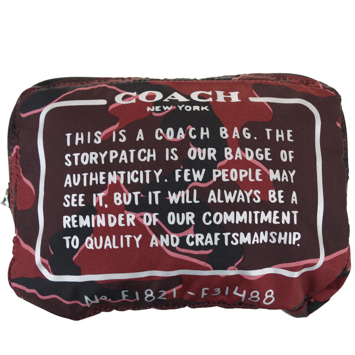 【中古】 コーチ(Coach) F31488 ナイロン エコバッグ レッド 03GC267