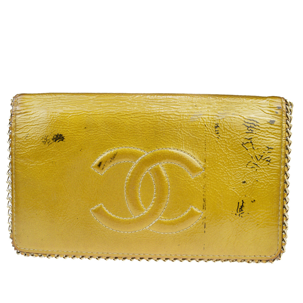 【中古】 シャネル(Chanel) チェーン CC パテントレザー 長財布(二つ折り) ブロンズ 07FA957