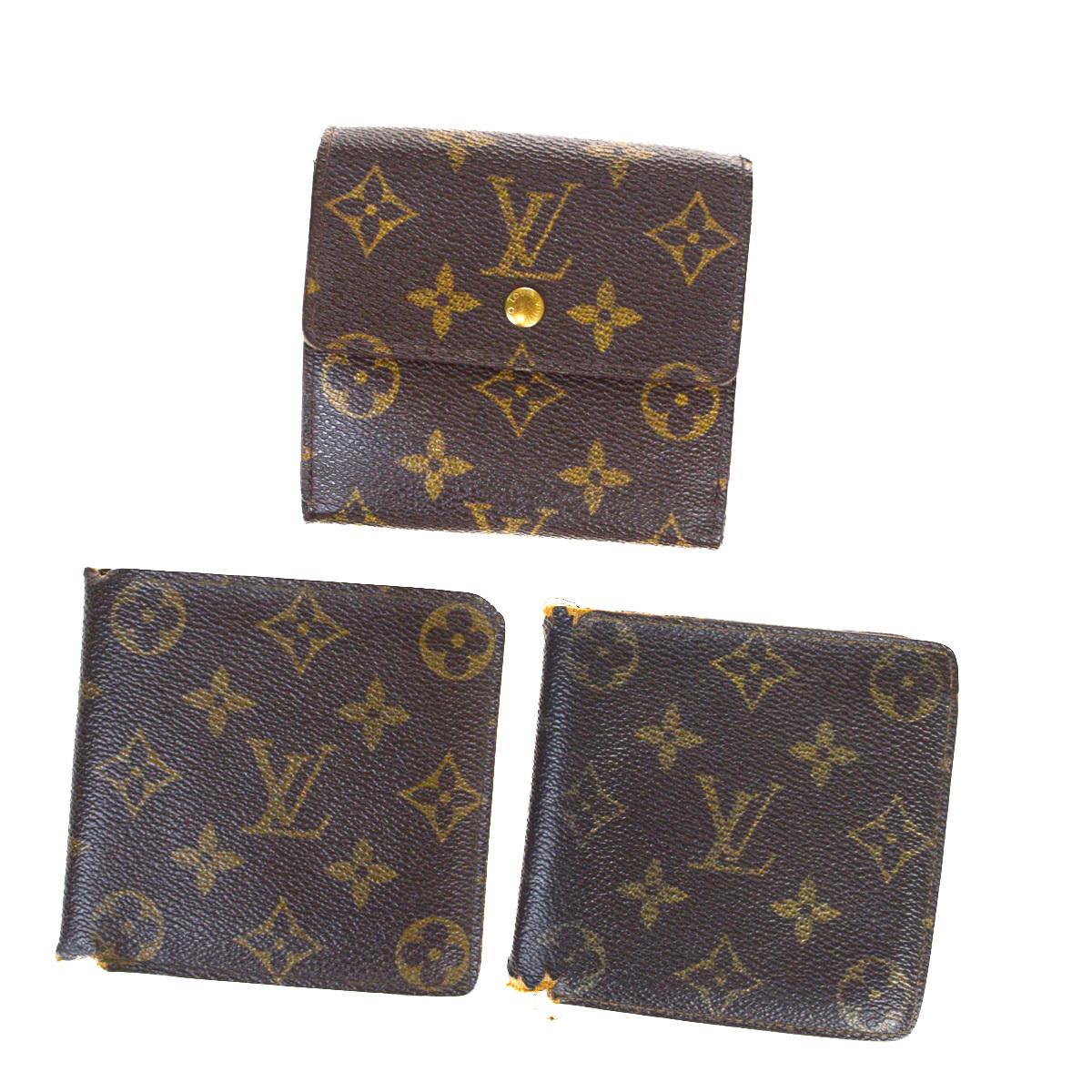 【中古】 ルイ・ヴィトン(Louis Vuitton) モノグラム 3セット レザー 財布(二つ折り) ブラウン 07FA966