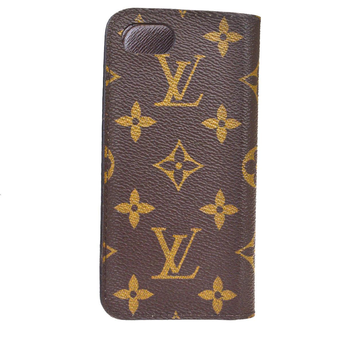【中古】 ルイ・ヴィトン(Louis Vuitton) モノグラム iPhone7 スマホケース カバー M61909 レザースマホ・携帯ケース ブラウン 08FA976