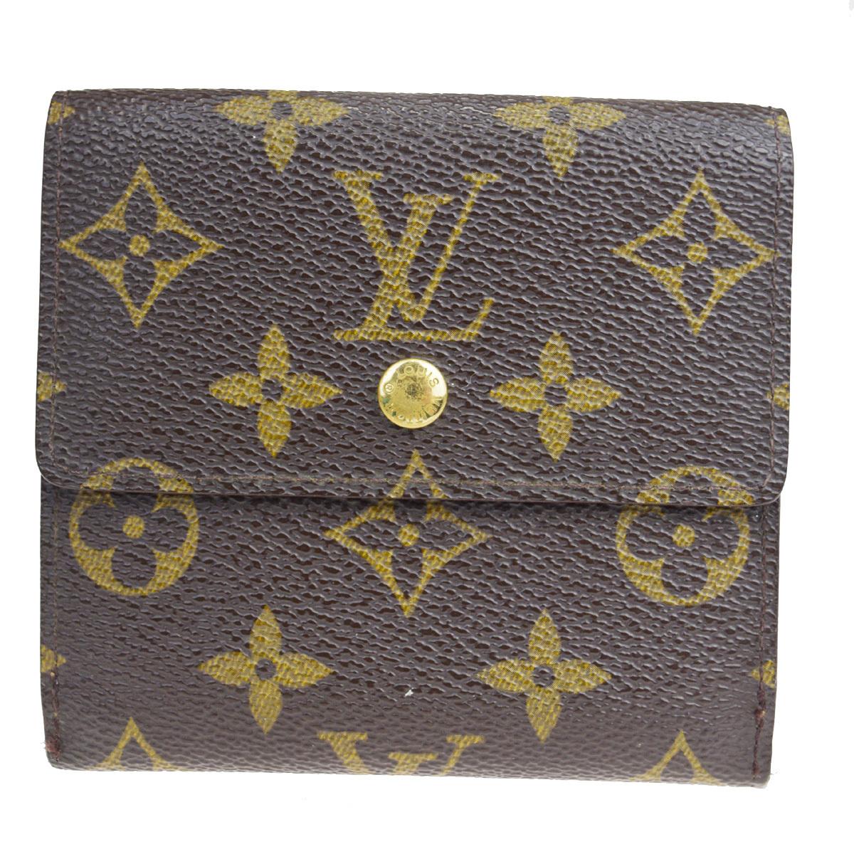 【中古】 ルイ・ヴィトン(Louis Vuitton) ポルトフォイユエリーズ M61654 レザー 財布(三つ折り) ブラウン 08FA980