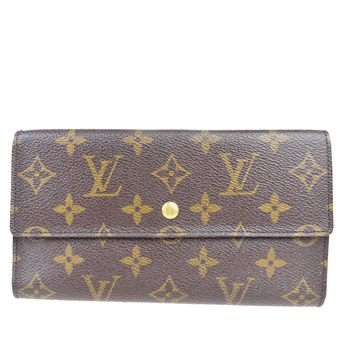 【中古】 ルイ・ヴィトン(Louis Vuitton) モノグラム ポルトフォイユ インターナショナル M61217 レザー 長財布(三つ折り) 09EB030