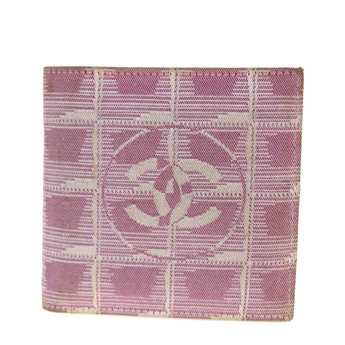 【中古】 シャネル(Chanel) ニュートラベルライン ジャカード 財布(二つ折り) ピンク 08PA330