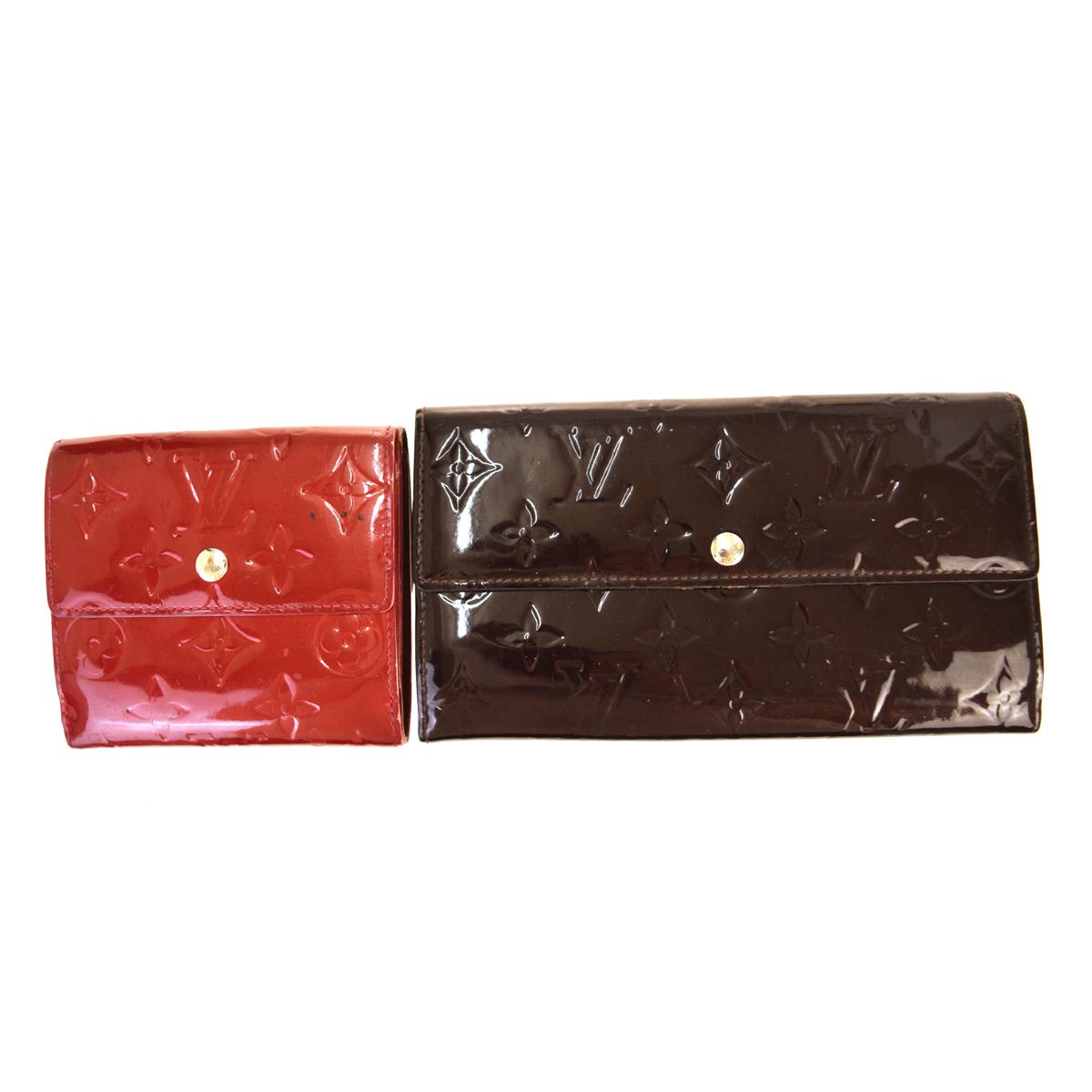 【中古】 ルイ・ヴィトン(Louis Vuitton) モノグラムヴェルニ 2点セット パテントレザー 財布(二つ折り) アマラント,レッド 01PA336