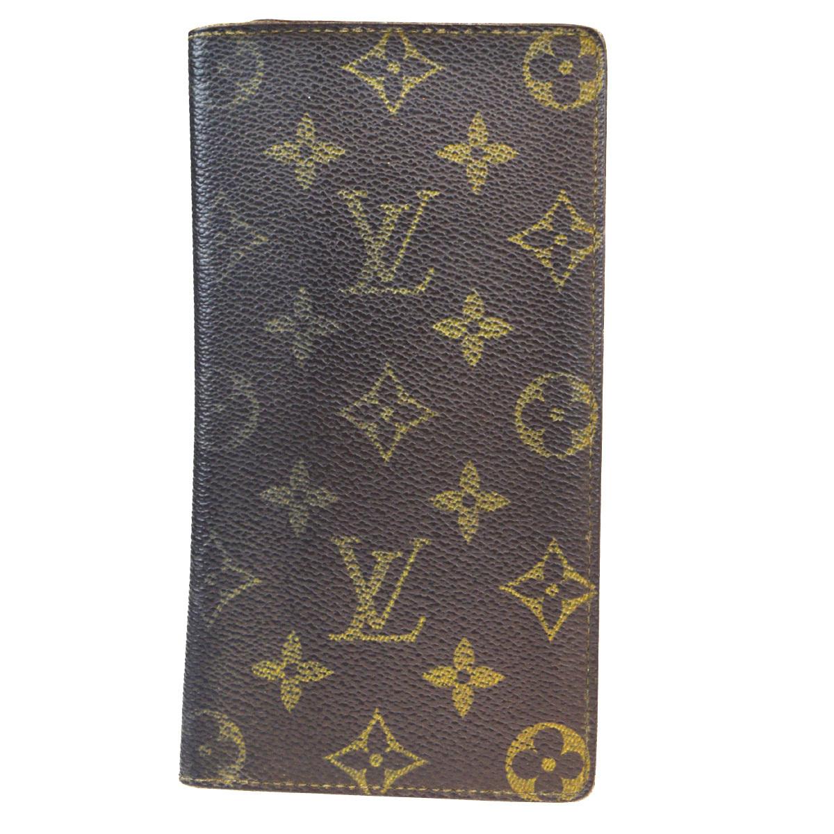 【中古】 ルイ・ヴィトン(Louis Vuitton) モノグラム ポルト カルト クレディ M60825 レザー 長財布(二つ折り) ブラウン 07EB054