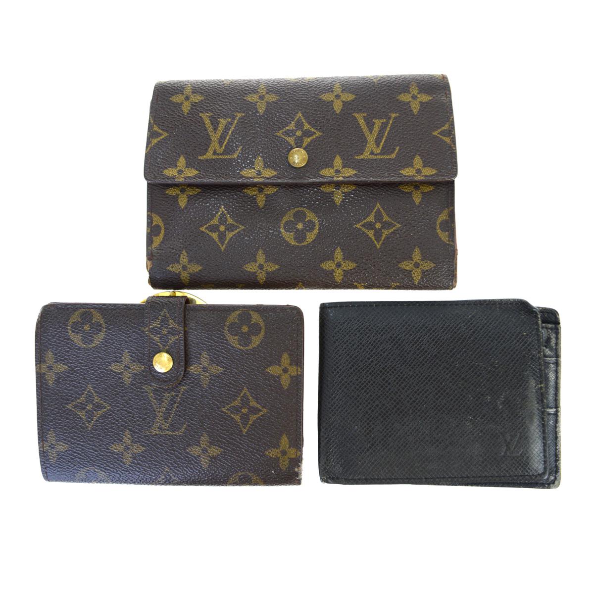 【中古】 ルイ・ヴィトン(Louis Vuitton) モノグラム 3点セット タイガ レザー 財布(二つ折り) ブラウン 02PA362