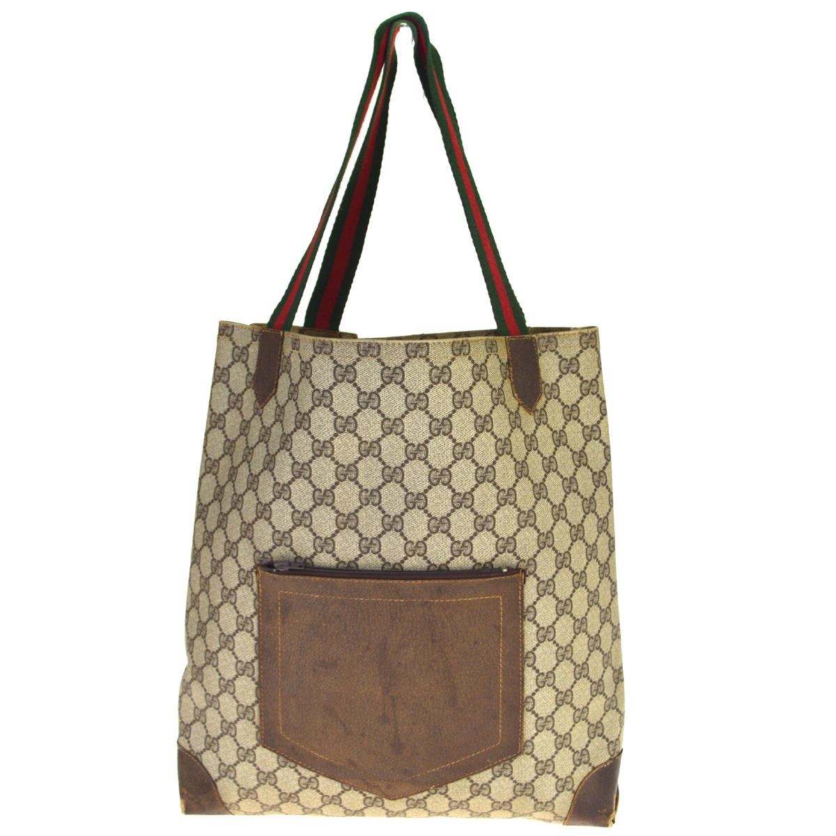 【中古】 グッチ(Gucci) GGキャンバス シェリー PVC トートバッグ ブラウン 08PA289