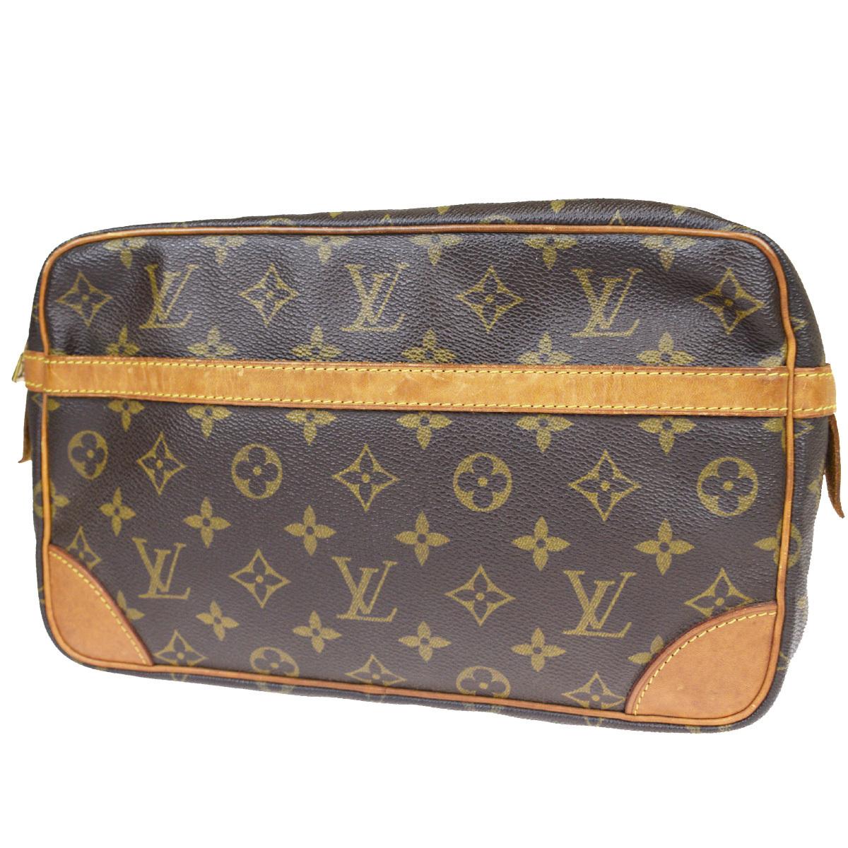 【中古】 ルイ・ヴィトン(Louis Vuitton) モノグラム コンピエーニュ 28 M51845 クラッチバッグ ブラウン 09FB090