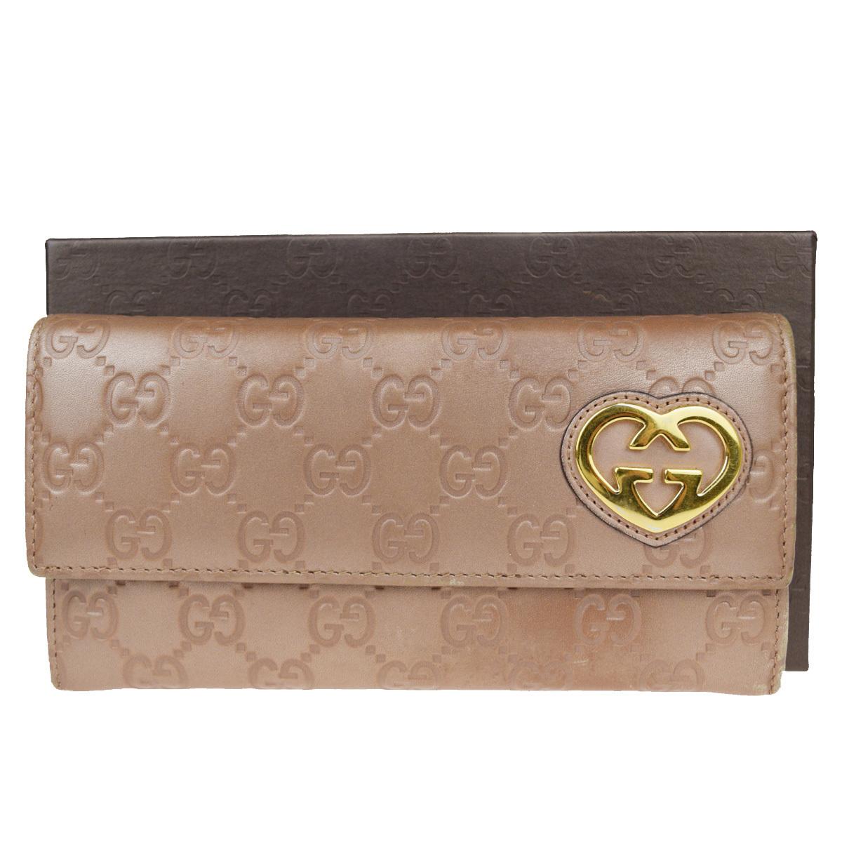 【中古】 グッチ(Gucci) GG 柄 レザー 長財布(二つ折り) ブロンズ 08FB106