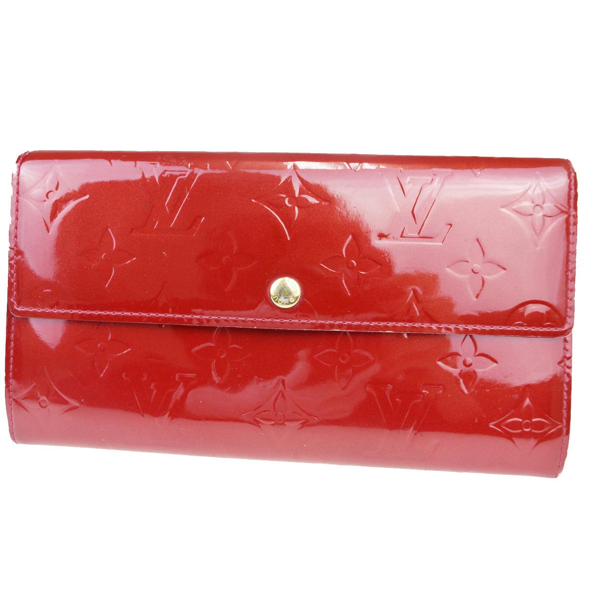 【中古】 ルイ・ヴィトン(Louis Vuitton) モノグラムヴェルニ ポルト モネ クレディ M91983 パテントレザー 長財布(二つ折り) ポムダムール 07FB107